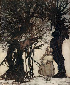 "Arthur Rackham:   Peter Pan in Kensington Gardens     ""They warned her."""