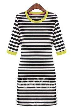 $10.06 Casual Style Stripe Color Block Cotton Scoop Neck Slimming Half Sleeves Dress For Women