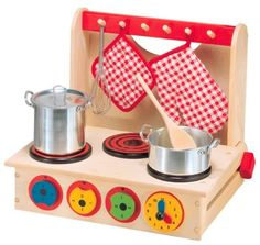 Alex Wooden Cook Top Playstove by Alex. $39.99. From the Manufacturer                The award-winning Wooden Cook Top is a quality pretend stove that will provide children with hours of imaginative play. The dials and clock can really move, and the handle flips out to create hanging pegs for towels and accessories. The Wooden Cook Top folds down for easy portability and storage.                                    Product Description                Stir up some fun...