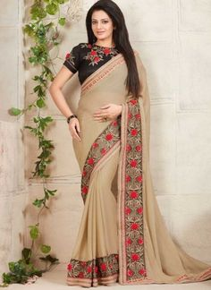 Cream Black Embroidery Work Fancy Fabric Designer  Sarees http://www.angelnx.com/Sarees