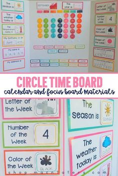 Circle Time Board For Homeschool & Elementary Classrooms Circle Time Calendar Board Circle Time Activities, Preschool Learning Activities, Preschool Lessons, Circle Time Ideas For Preschool, Kindergarten Circle Time, Circle Crafts Preschool, Daycare Crafts, Childcare Activities, Home Daycare Rooms