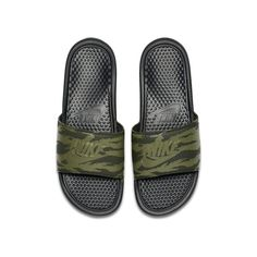 Nike Benassi JDI Men's Slide - Olive Nike Slides, Men Slides, Slide Sandals, Strap Sandals, Olive Style, Nike Benassi, Its A Mans World, Black Media, Flip Flops