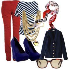 одежда к красным брюкам