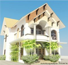 Thiết kế nhà biệt thự 2 tầng đẹp hiện đại 8.4x15m. Mẫu biệt thự độc lập nhà vườn đẹp