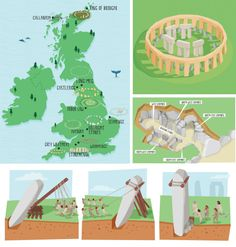 uk map illustrations & children's educational illustrations. stone circles and pre historic burial sites kerryhyndman.co.uk