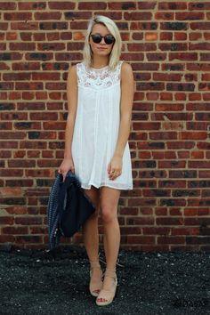 Sweet A-Line White Tank Dress m.OASAP.com