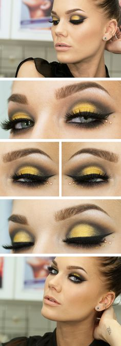"Yellow and brown smokey black winged eye shadow accented with topaz crystals, titled ""Yellow Smoke"" by Linda Hallberg."