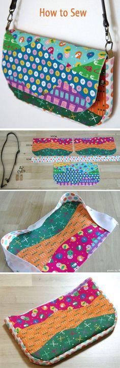 Sewing Bags For Women Women Bags - Cross Body Shoulder Bag Sewing Photo Tutorial. Step by Step DIY www. Diy Handbag, Diy Purse, Diy Bags Step By Step, Diy Bags Tutorial, Bag Sewing, Crossbody Bags For Travel, Travel Bag, Patchwork Bags, Purse Patterns