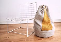 Sack TRICH hamper / storage  knit made of lambs wool  by hjartslag