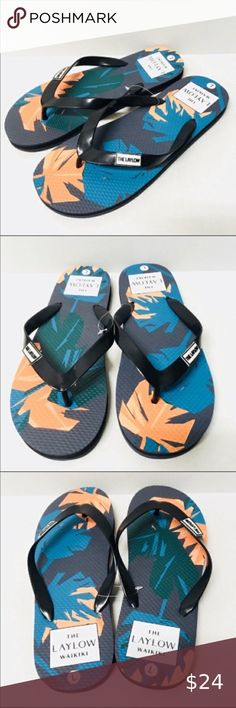 Size XL 7 Boys Flip Flops Hang Ten Thong Style Blue /& Navy Blue  NWOT