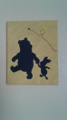 8x10 Canvas. Winnie the Pooh and Piglet silhouette. This item is hand painted. You may customize the background color of this painting. All items are made to order! Since this is hand painted, not every item will look exactly the same but they will be very close!! Returns accepted ONLY if the item you received is the wrong one, or the wrong color than what you ordered.