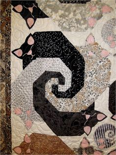 ❤ =^..^= ❤ Purrrrfectly cute cat quilts.  Close-up of Let Sleeping Cats Lie