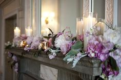 For an extra bit of & decorate extra spaces in your venue, such as a fireplace mantel. By Perfect Planning Wedding and Events Wedding Mantle, Fall Wedding, Our Wedding, Wedding Ceremony, Dream Wedding, Wedding Table Decorations, Wedding Themes, Vintage Wedding Centerpieces, Floral Arrangements