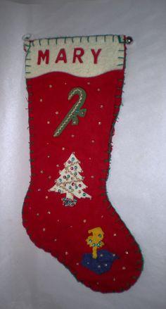 Hand Made Felt Flannel Stocking - Vintage Handmade Christmas Stocking