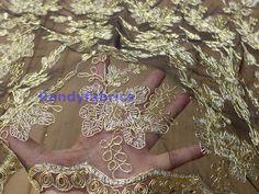 Gold metallic one black mesh embroidered lace door Randyfabrics