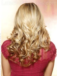 Long Hairstyle with Curls and Volume Back View
