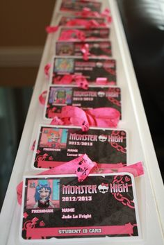 Monster High IDs. Have ppl RSVP with kids picture. When guests arrive give them their IDs. Alternative to party hats and if a drop off party excellent as parent information cards. GREAT IDEA FOR KAY's BDAY PARTY Flynn Flynn Russo – For Invites Cumple Monster High, Monster High Birthday, Monster High Party, 9th Birthday Parties, 7th Birthday, Birthday Ideas, Bday Girl, Brisbane Kids, Party Planning