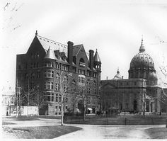 Y.M.C.A of Dominion Square, Metcalf, Montreal.  Built in 1891.  Building has been demolished.  This building was located at the actual location of the Sun life building