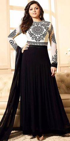 Madhubala Georgette Black And White Anarkali Suit With Dupatta.