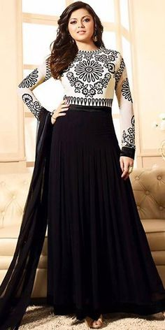 Madhubala Georgette Black And White Anarkali Suit With Dupatta.