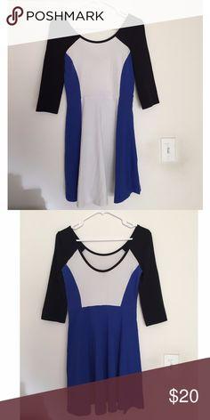 Express Blue White Black Color Block Skater Dress Brand New with Tags. Express color block skater dress in blue white and black. 95% Cotton / 5% Spandex. Express Dresses