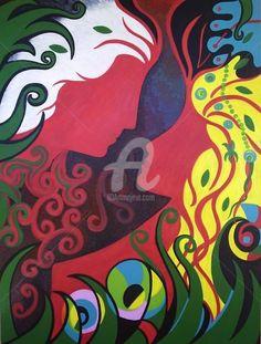 EROS E PSIQUE ÀS AVESSAS  -  ( Bienal Itália) (Pintura),  60x80 cm por ROSE CANAZZARO Eros e Psique às avessas, se olham, mas não se tocam. Um amor platônico que supera o toque físico, onde a contemplação e as palavras dão origem as fantasias, aos delírios, a volúpia, pura expressão criativa da consciência. Obra inédita apresentada na Bienal de Arte da Itália representando a arte contemporânea brasileira.