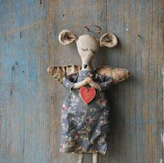 Mouse Angel-Primitive Angel-Primitive Mouse-Fabric Angel Ornaments-Primitive Valentine-Country Primitive Decor-Primitive Valentine Doll