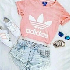 Pink Adidas shirt with matching shoes. - Addidas Shirt - Ideas of Addidas Shirt - Pink Adidas shirt with matching shoes. Tumblr Outfits, Teen Fashion Outfits, Mode Outfits, School Outfits, Outfits For Teens, Girl Outfits, Tween Fashion, Clothes For Girls, Tumblr Clothes