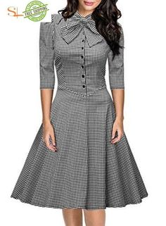 online shopping for Miusol Women's Official Bow Neck Plaid Slim Half Sleeve Vintage Dress from top store. See new offer for Miusol Women's Official Bow Neck Plaid Slim Half Sleeve Vintage Dress Vintage Dresses, Vintage Outfits, Vintage Fashion, Vintage Wardrobe, Pretty Dresses, Beautiful Dresses, Work Dresses, Elegant Dresses, Casual Dresses