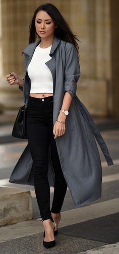 must-try + trench coat look + maxi trench + Jessica R. + utterly elegant + marl grey number + Shein Coat/Top: Shein, Jeans: Topshop, Heels: Schutz, Bag: Prada.