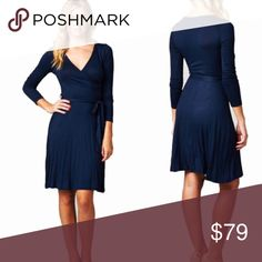 S-L Navy Wrap Dress Gorgeous wrap dress! Color is navy blue. Material is 95/5 Poly/Spandex. Sizes are S-L and fit is true to size. Limited quantities! Dresses Midi