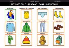 Vestirse me voy al cole by Dana Horodetchi, via Slideshare Romanian Language, Visual Aids, Visual Schedules, Kids Education, Cross Stitch Patterns, Homeschool, Teaching, Activities, Writing
