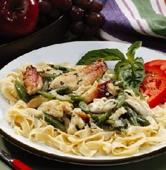 Alfredo Pasta - Use leftover cooked chicken or turkey and whatever vegetables you have on hand to prepare this easy, satisfying meal in no time.