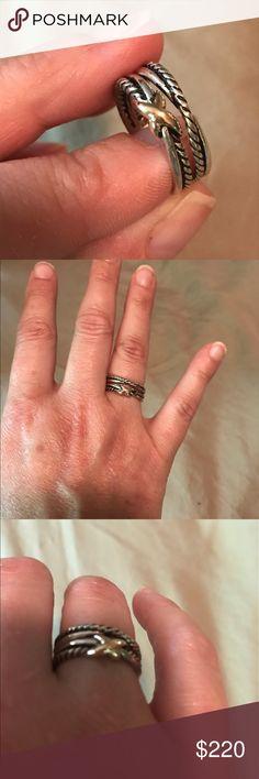David Yurman X Crossover Ring David Yurman X Crossover Ring, sterling silver & 18 karat gold, size 6 excellent condition David Yurman Jewelry Rings