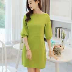 Zafraa Green Knitted Solid Winter Dress