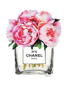Chanel poster Pink Peony vase Chanel art print by hellomrmoon