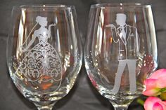Close up of Wedding wine glasses.