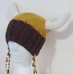 Hand Knit HatViking Hat for Womens Teens Mustard by earflaphats, $45.00