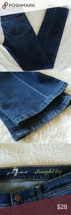 Seven For All Mankind straight leg jeans These are in excellent used condition. No stains, no tears or fraying on the hems. Inseam measures 32 inches. 7 For All Mankind Jeans Straight Leg