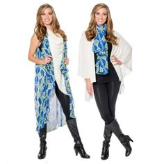 Whether at the beach or in the snow, you can't go wrong with this wintery ensemble! This Cobalt Lime Tribal Sheer is the perfect pop of color to a classic favorite.