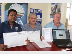 Calling on all South Coasters to sign the petition for life-saving road safety measures on the R61 are (from left) Dr Rishigen Viranna, MPL for the Ugu South Constituency,  Paul Brauteseth Ward 3 DA Councilor and Ward 1 and Exco councillor Dave Watson.