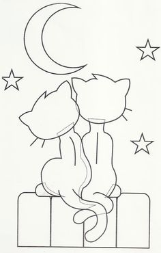 Hand Embroidery Design Cats and a moon. Could use this as an applique on a quilt… Cat Applique, Applique Templates, Applique Patterns, Applique Designs, Quilt Patterns, Embroidery Designs, Cat Crafts, Paper Crafts, Coloring Books