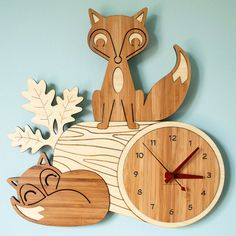 This is supposed to be for a kid's room? Don't care. Fox Log Bamboo Wall Clock