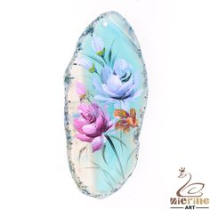Creative Pendant Hand Painted Flower Natural Gemstone Multi Color  ZL804308 #ZL #Pendant