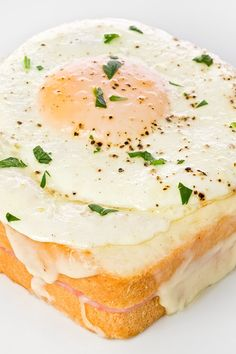 Croque Madame Ham and Cheese Sandwich with Egg Recipe