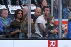 Victoria and David Beckham watch the Western Conference Semifinals Game 7