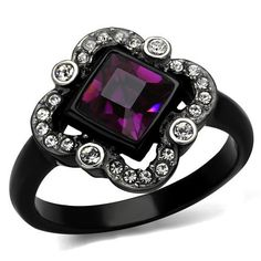 Black Ion Plated Stainless Steel Fuchsia and Clear Top Grade Crystal Women's Engagement Ring