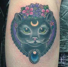 Work by @beccalouisetattoo #cattattoo #moontattoo #frametattoo #flowertattoo #bodycrafttattoo #nottinghamtattoo #tattoo
