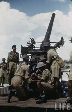 Anti aircraft gun crew training. Singapore 1941, pin by Paolo Marzioli