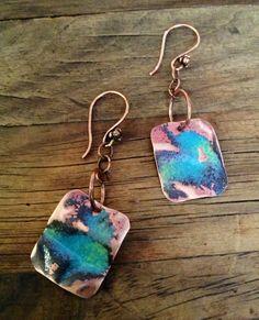Crumpled Enamel on Copper Rectangle Earrings by ChristensenStudio, $20.00